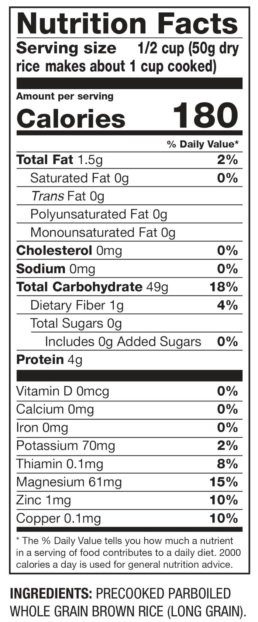 Nutrition Facts Brown Rice