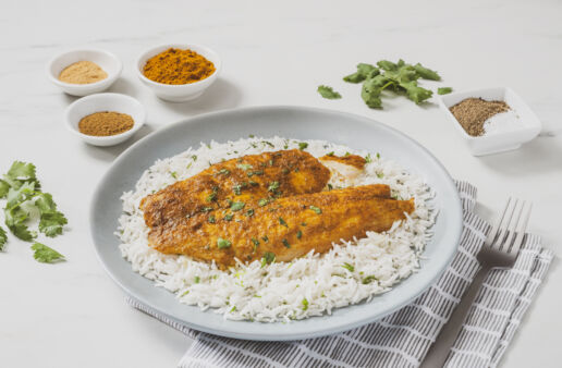 Curried-Baked-Fish-served-with-Basmati-Rice