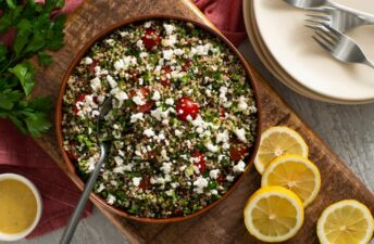 Mediterranean-tabouli-with-quinoa-tomatoes-feta-cheese-and-mint