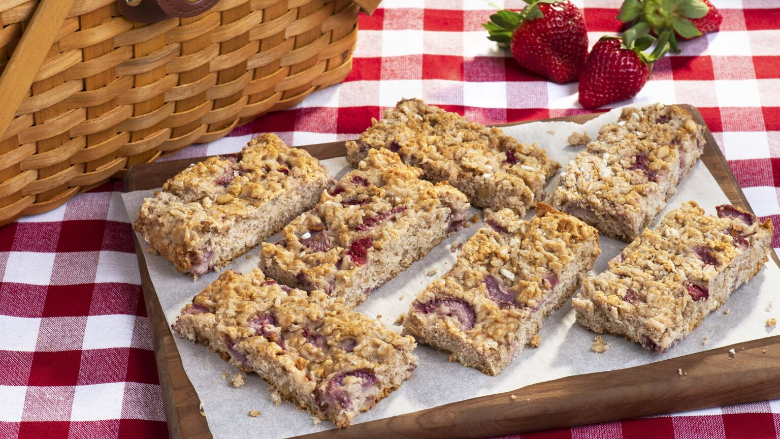 Pine Nut Strawberry Rice Bars