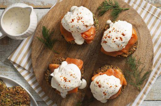 Creole Salmon eggs benedict with quinoa