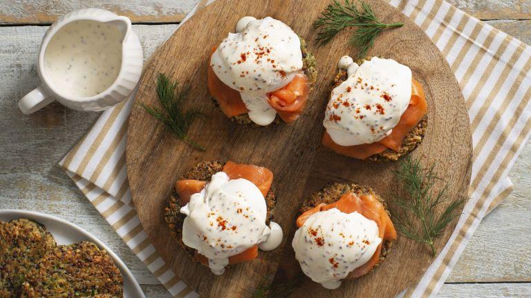 Creole Salmon Benedicts with Quinoa Cakes