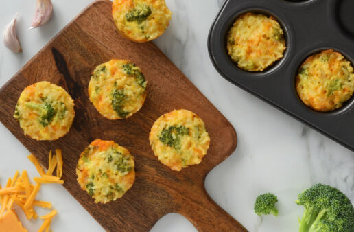 Broccoli and Cheddar Rice Cups