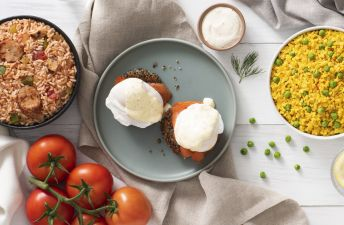Creole Salmon Eggs Benedict with Quinoa Cakes and Hollandaise