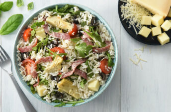 Italian Rice and Antipasto Salad with White Rice