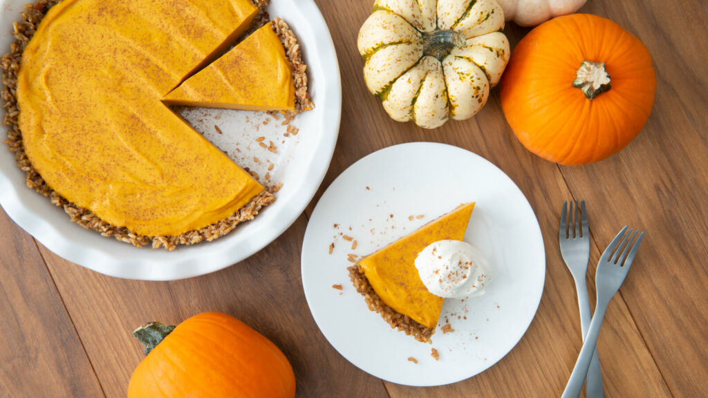 Pumpkin Mousse Pie with Pecans and Brown Rice Crust