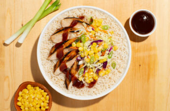 BBQ Chicken Rice Bowl with corn