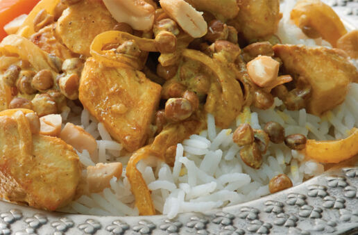 Chicken and Lentils Curry with Cashews and Basmati Rice