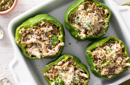 Chicken Pesto Stuffed Peppers with Quinoa