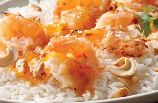Coconut Shrimp over Jasmine Rice with Marmalade-Mustard Sauce