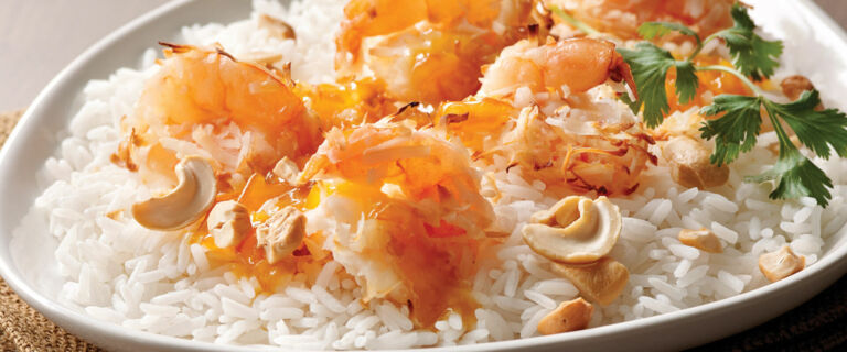 Coconut Shrimp over Rice with Marmalade-Mustard Sauce