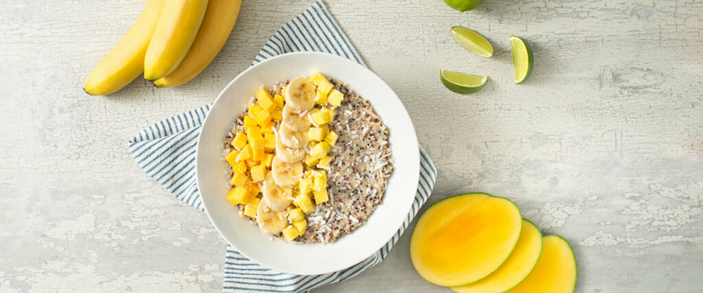 Creamy Coconut Tropical Quinoa Breakfast Bowl