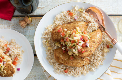 Cumin Rubbed Chicken with Artichoke Salsa and Brown Rice
