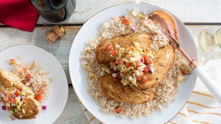 Cumin Rubbed Chicken with Artichoke Salsa