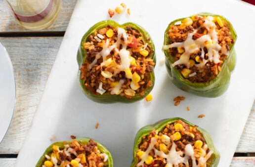 Easy Santa Fe Style Stuffed Peppers with Brown Rice