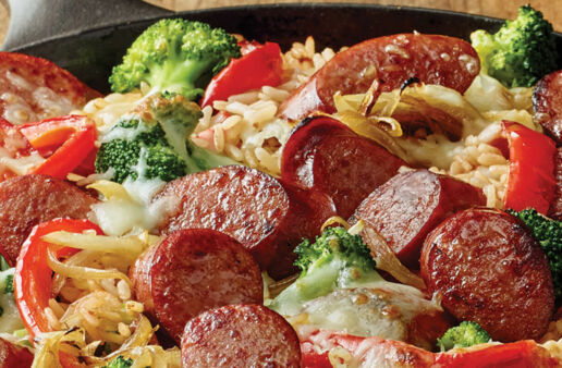 Easy Smoked Sausage and White Rice Skillet with Broccoli