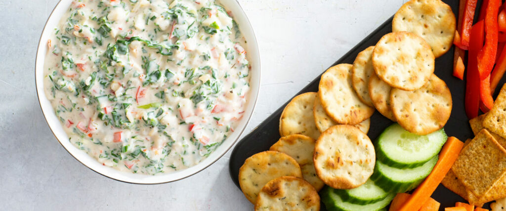 Garden Spinach Dip with Brown Rice