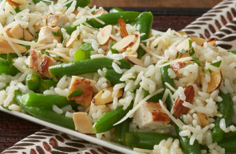 Chicken Green Bean Rice Amandine with White Rice and Toasted Almonds