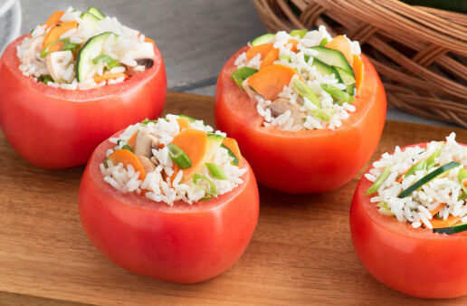 Garden Veggie Stuffed Tomatoes with White Rice