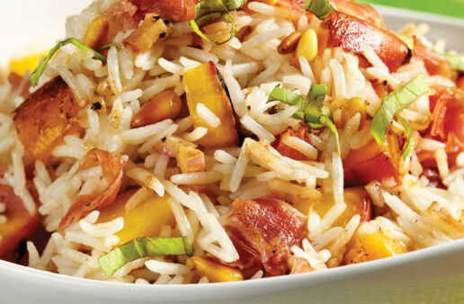 Grilled Peach and Prosciutto Rice Pilaf with Basmati Rice