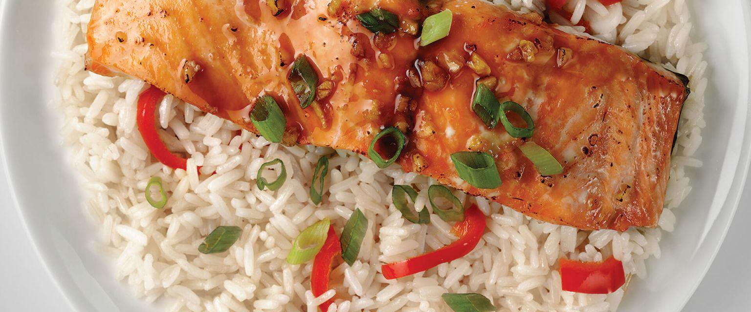 Honey-Ginger Baked Salmon with Jasmine Rice