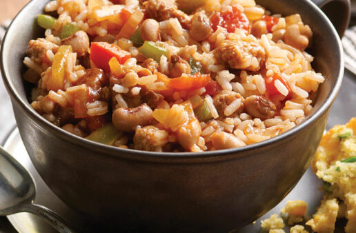 Hoppin' Juan with turkey sausage and white rice