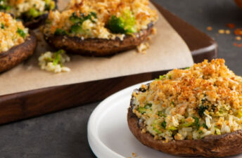 Mean Green Stuffed Portobellos with Brown Rice