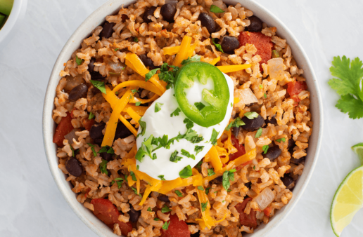 Mexican Rice and Beans with cheese and chorizo