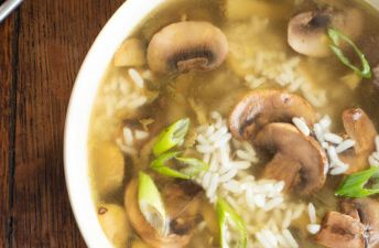 Mushroom & White Rice Soup with Thyme