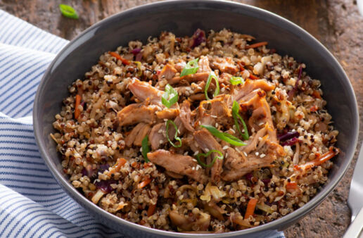 Pulled Pork Power Slaw Stir Fry with Quinoa