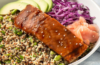 Quinoa Edamame Power Bowl with Salmon