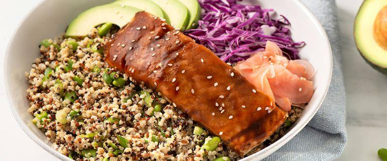 Quinoa Edamame Power Bowl with Salmon