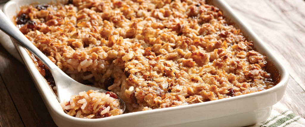 Rice Apple Crisp with raisins and oats