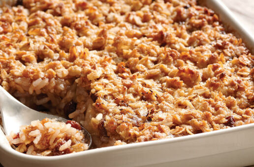 Rice Apple Crisp with raisins and oats
