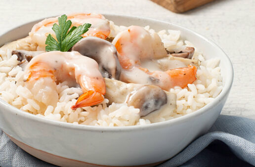 Shrimp Alfredo with White Rice