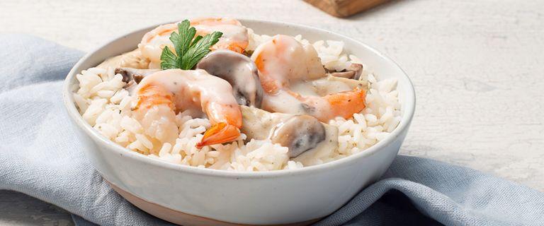 Shrimp Alfredo with Rice