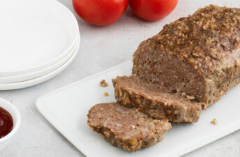 Successful Meatloaf made with rice and sauce