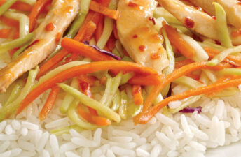 Sweet and Spicy Apricot Chicken served over Jasmine Rice
