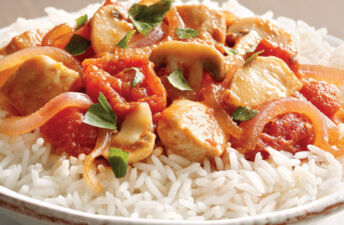 Tuscan Chicken with Tomatoes and White Rice