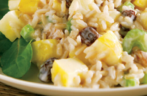 Waldorf Brown Rice Salad with walnuts and raisins