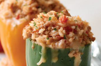 Zesty Stuffed Bell Peppers with Italian Sausage and White Rice