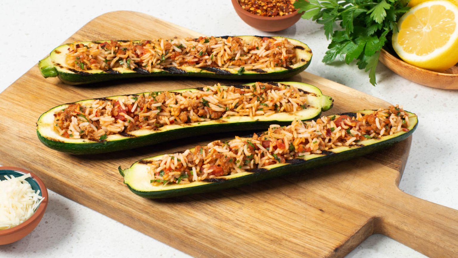 Zucchini Boats Stuffed with Rice and Sausage
