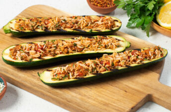 Zucchini Boats Stuffed with Jasmine Rice and Sausage
