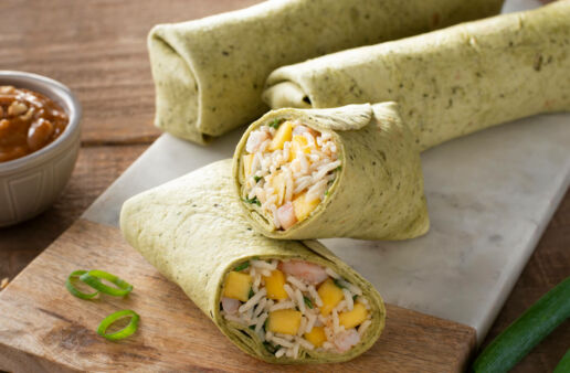 Thai Style Rice and Shrimp Wraps with Jasmine Rice