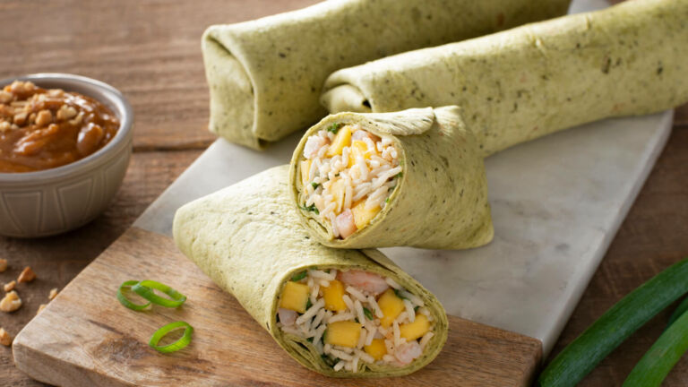 Thai Style Rice and Shrimp Wraps
