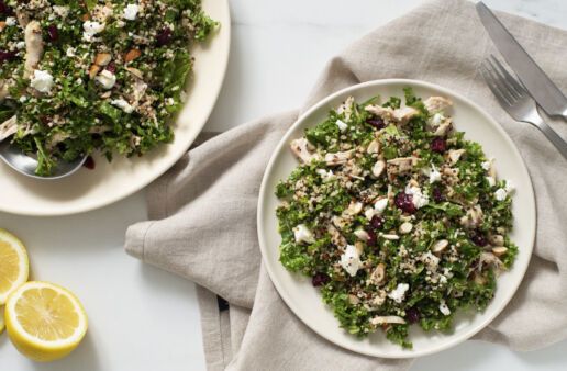 Kale and quinoa power salad with chicken