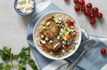 Mediterranean Rice Bowl with Zucchini Fritters