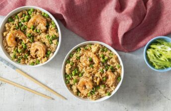 Shrimp fried rice bowl topped with green onion