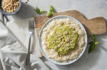 homemade basil pesto with aromatic rice