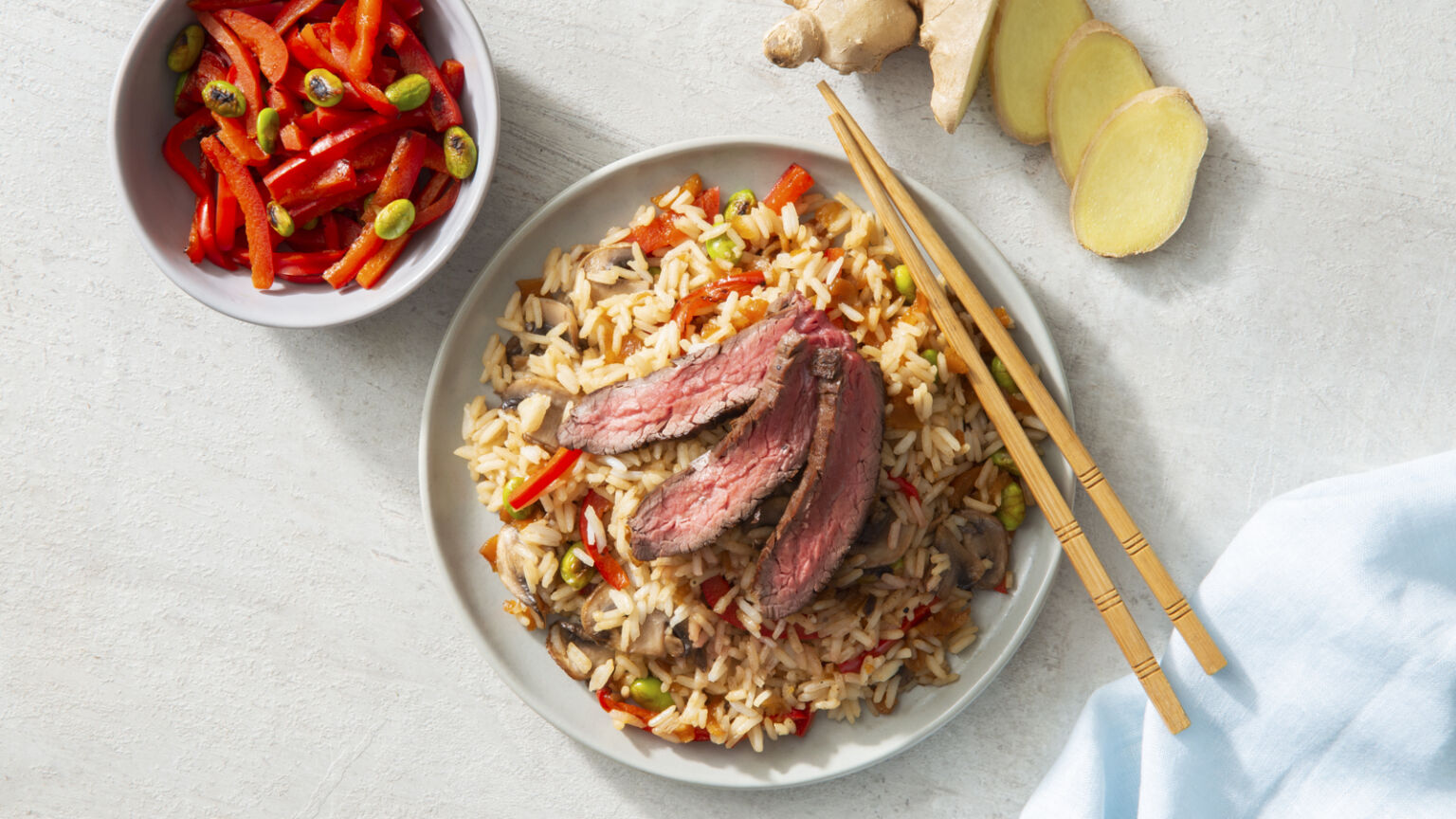 Asian-Style Steak with Mushrooms and Rice